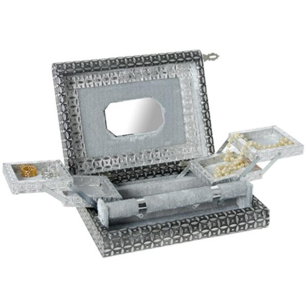 Joyero Metal Plateado con Espejo 29 x 22 x 9 cm
