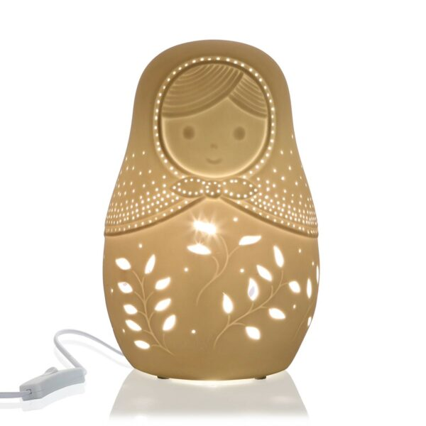 Lámpara Sobremesa Matrioshka Porcelana Led Incluida 15 x 15 x 23 cm