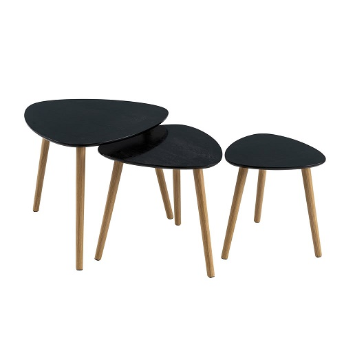 Set 3 Mesas Negro 60 x 60 x 51 cm