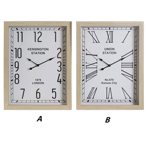 Reloj Pared Cristal Mdf 42 x 6 x 55 cm