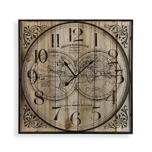 Reloj Pared Madera Metal 60 cm