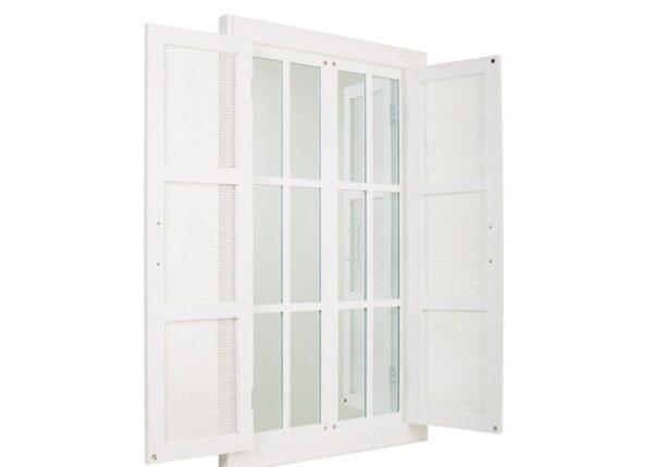 Espejo Ventana Blanco Mimbre 74 x 1,18 cm
