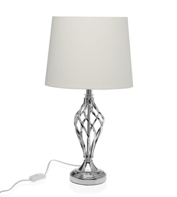 Lámpara Sobremesa Metal Plateada 30 x 55 cm