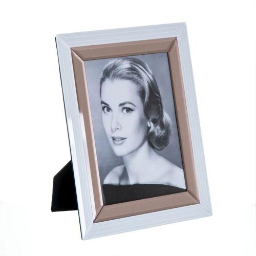 Portafotos Cristal Blanco Dorado