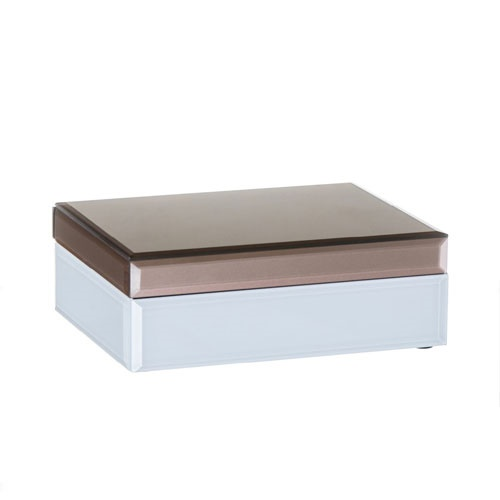 Caja Cristal Blanco Dorado 19 x 8 x 15 cm