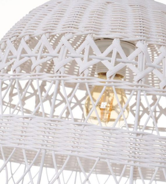 Colgante Metal Ratán Blanco 36 x 26 cm