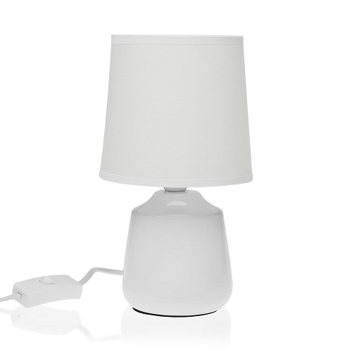 Lámpara Sobremesa Cerámica Blanca 23 x 13 x 13 cm