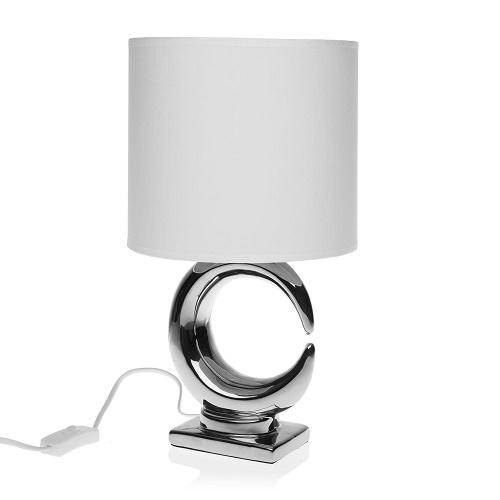 Lámpara Sobremesa Cerámica Plateada 23 x 23 x 40 cm