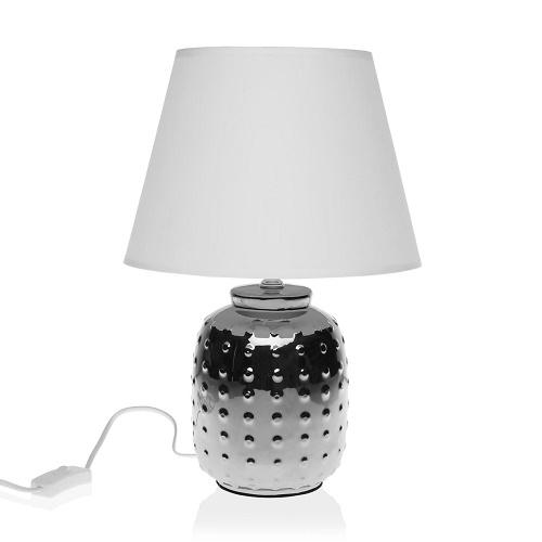 Lámpara Sobremesa Cerámica Plateada 36 x 25 cm