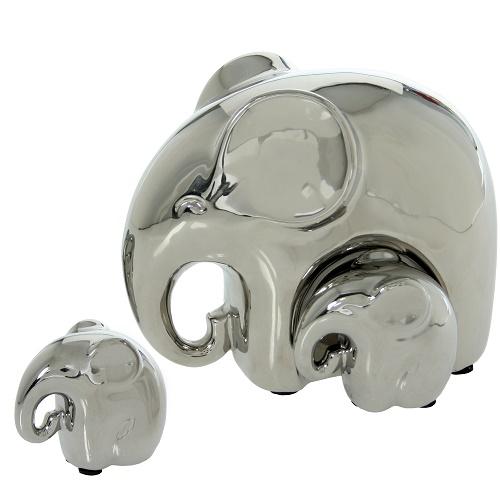 Set 3 Elefantes Cerámica Plateados