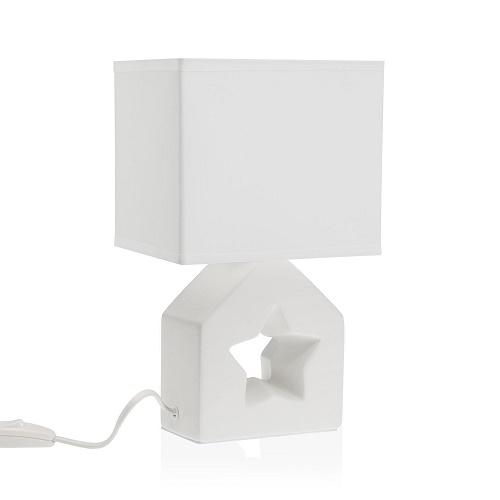Lámpara Sobremesa Cerámica Blanca 27,5 x 12 x 17 cm