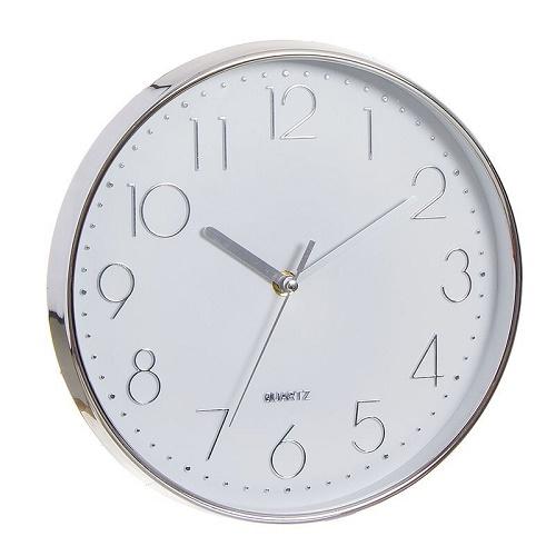 Reloj Pared Pvc Cromado 30 cm