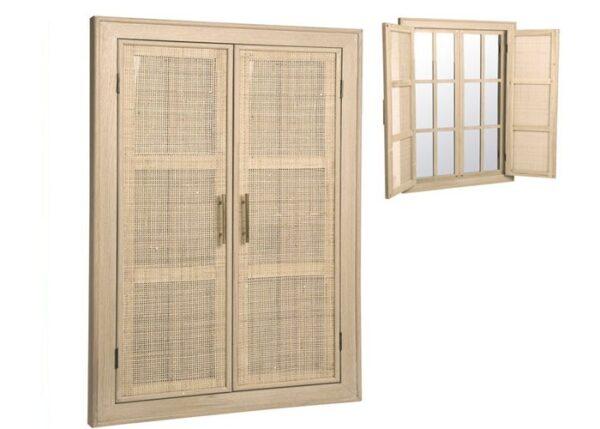 Espejo Ventana Blanco Mimbre 73,5 x 5 x 1,18 cm