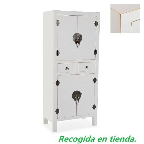 Armario Blanco 4 puertas 2 Cajones 120 x 50 x 30 cm